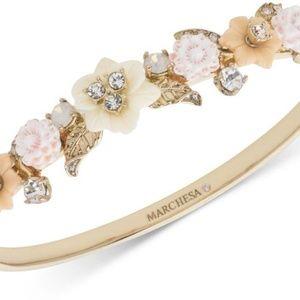 Marchesa Goldtone Crystal Flower Bangle Bracelet